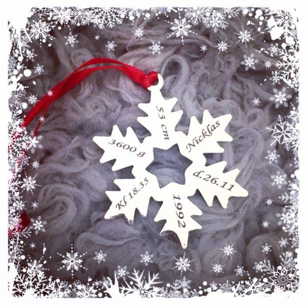 gravert julepynt dåpsgave konfirmasjonsgave juletre